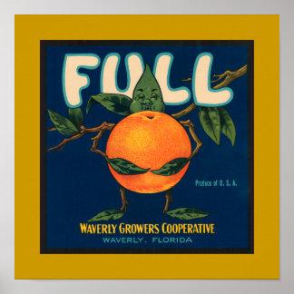 Full - Orange Crate Label (border) Poster