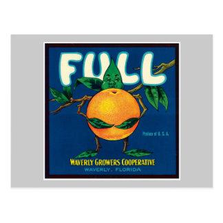 Full Orange Vintage Label Postcard