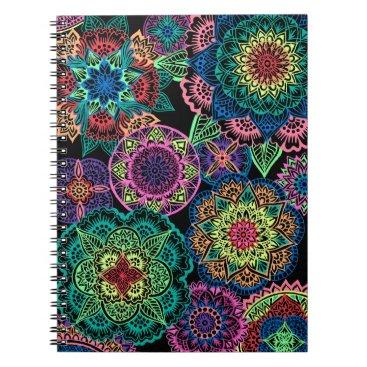 Beach Themed Full Page Neon Mandalas Spiral Notebook