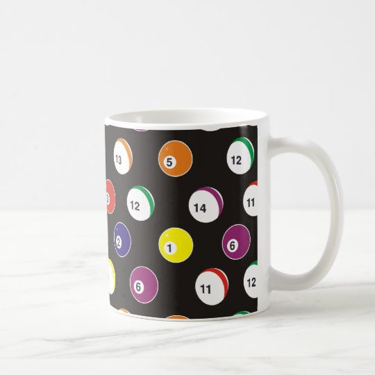 full pattern billiard theme coffee mug