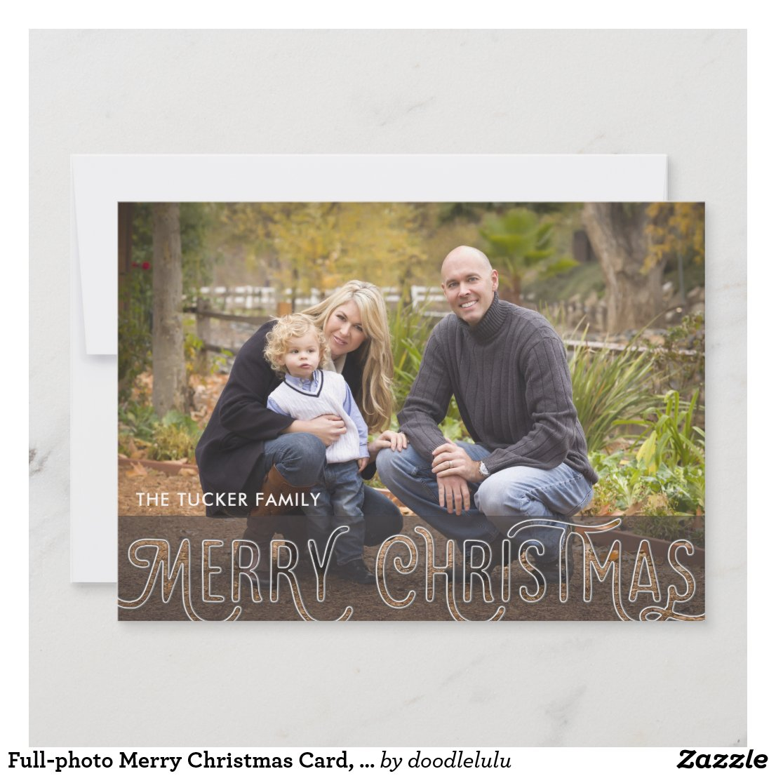 Full-photo Merry Christmas Card, Glass Text Holiday Card