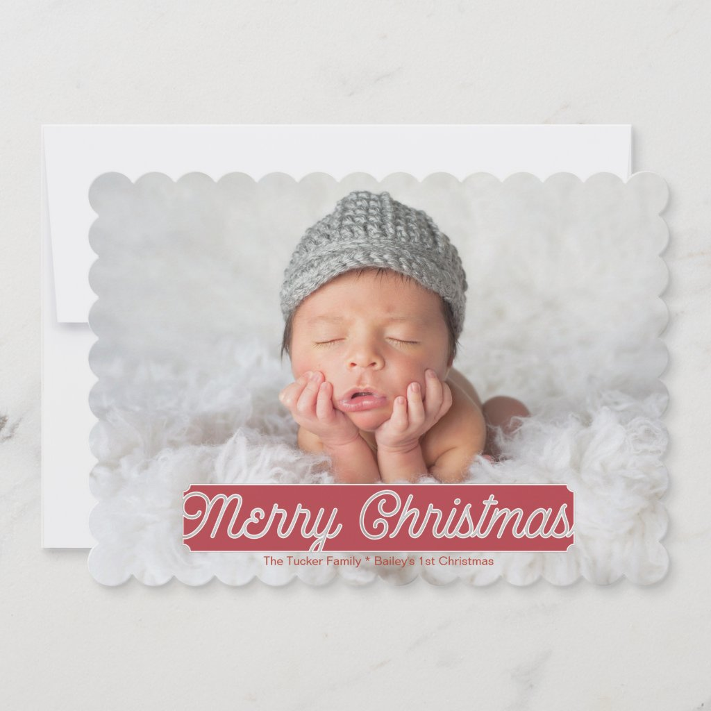 Full Photo Merry Christmas Card, Stencil Holiday Card