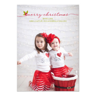 Full Photo Merry Christmas Holly and Berries 5x7 Paper Invitation Card