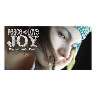 Full Photo Peace Love Joy Christmas Card