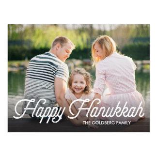 Full Photo Script Happy Hanukkah Postcard
