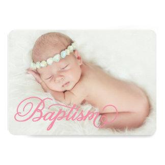 Full Photo Script Pink | Baptism Invitation
