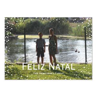 Full Photo Snowfall Custom Card Feliz Natal