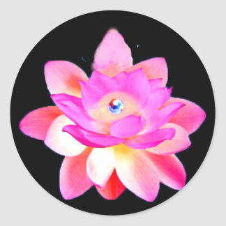 FULL PINK LOTUS WITH PEARL CHAKRA BLOOM CLASSIC ROUND STICKER
