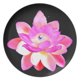 FULL PINK LOTUS WITH PEARL CHAKRA BLOOM MELAMINE PLATE
