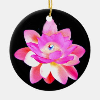 FULL PINK LOTUS WITH PEARL CHAKRA BLOOM CHRISTMAS TREE ORNAMENTS