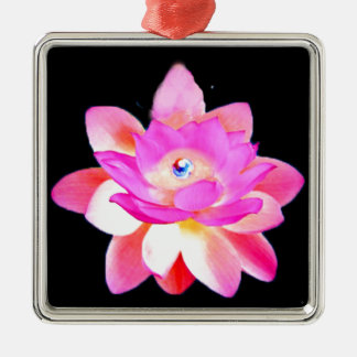 FULL PINK LOTUS WITH PEARL CHAKRA BLOOM CHRISTMAS TREE ORNAMENT