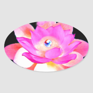 FULL PINK LOTUS WITH PEARL CHAKRA BLOOM OVAL STICKER