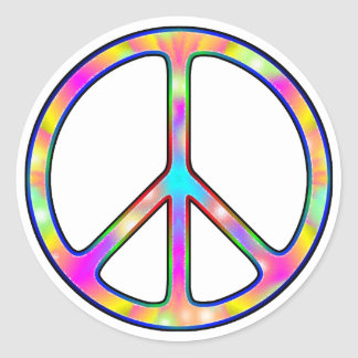 Full Psychedelic Peace Sign Classic Round Sticker