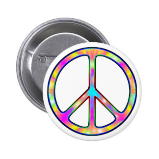 Full Psychedelic Peace Sign Pinback Button