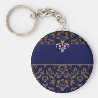 Full Purple Brown Damask wedding gift Basic Round Button Keychain