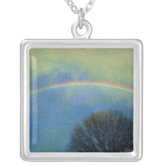 Full rainbow in Seurat style Silver Plated Necklace
