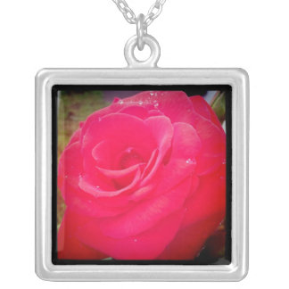 Full Rose Square Pendant Necklace