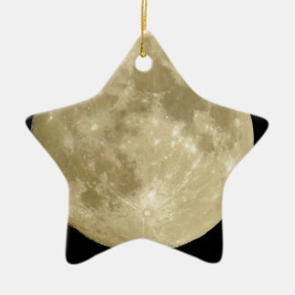 Full round moon on black background ceramic ornament