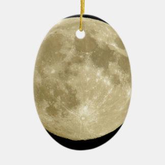 Full round moon on black background ceramic ornament