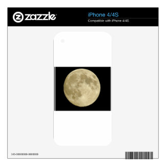 Full round moon on black background decal for iPhone 4S