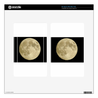 Full round moon on black background decals for kindle fire