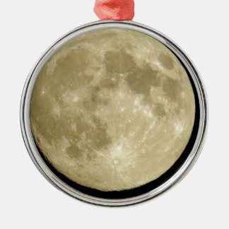 Full round moon on black background metal ornament
