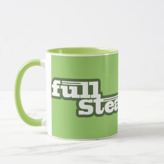 full steam ahead light green steam train logo mug