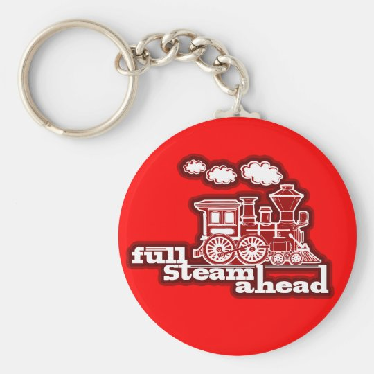 """Full steam ahead"" red train keychain"