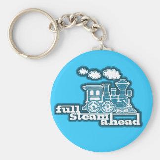 """Full steam ahead"" sky blue train graphic keychain"