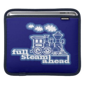 full steam ahead train blue ipad sleeve