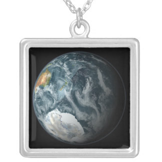 Full view of the Earth highlighting Antarctica Square Pendant Necklace