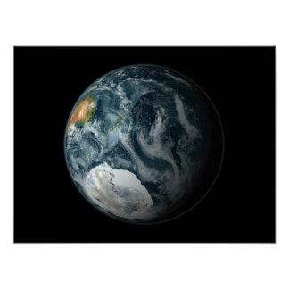 Full view of the Earth highlighting Antarctica Poster