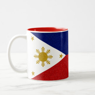 Full-wrap Philippines Glitter Flag Two-Tone Coffee Mug