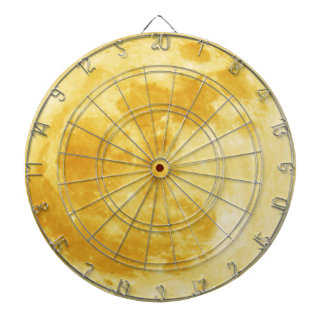 Full Yellow Moon Lunar Surface Astronomy Dartboard