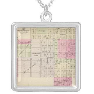 Fullerton and Genoa, Nebraska Square Pendant Necklace