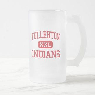 Fullerton - indios - alto - Fullerton California Jarra De Cerveza Esmerilada