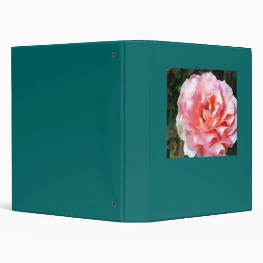 Fully Blooming Pink Rose 3 Ring Binder