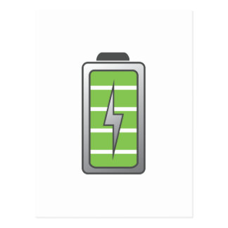 Fully Charged Battery Postcard