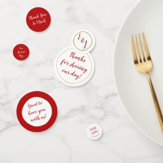 Fully Customiseable Sangria Red Wedding Day Confetti