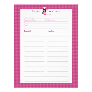 Fully Illustrated Recipe Page Custom Letterhead