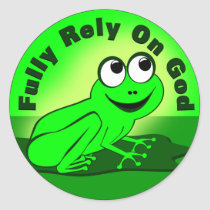 Fully Rely on God F.R.O.G. Classic Round Sticker