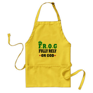 Fully Rely On God Frog Adult Apron