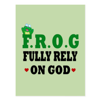 Fully Rely On God Frog Postcard
