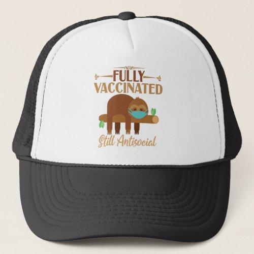Fully Vaccinated Still Antisocial Sleepy Sloth Trucker Hat