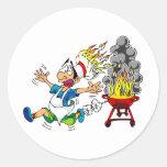 Fumador del Bbq de la parrilla del amo del hoyo de Etiquetas Redondas