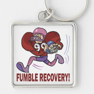 Fumble Recovery Silver-Colored Square Keychain