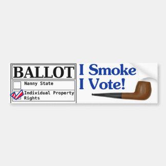 Fumo y voto a la pegatina para el parachoques pegatina para auto