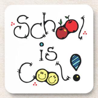 fun002 SCHOOL IS COOL FUN EDUCATION KINDERGARTEN Beverage Coaster