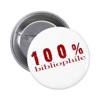 Fun 100% Bibliophile T-shirt Button