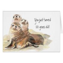 "Fun 101th Birthday ""Don't grow up "" Cute Seal Card"
